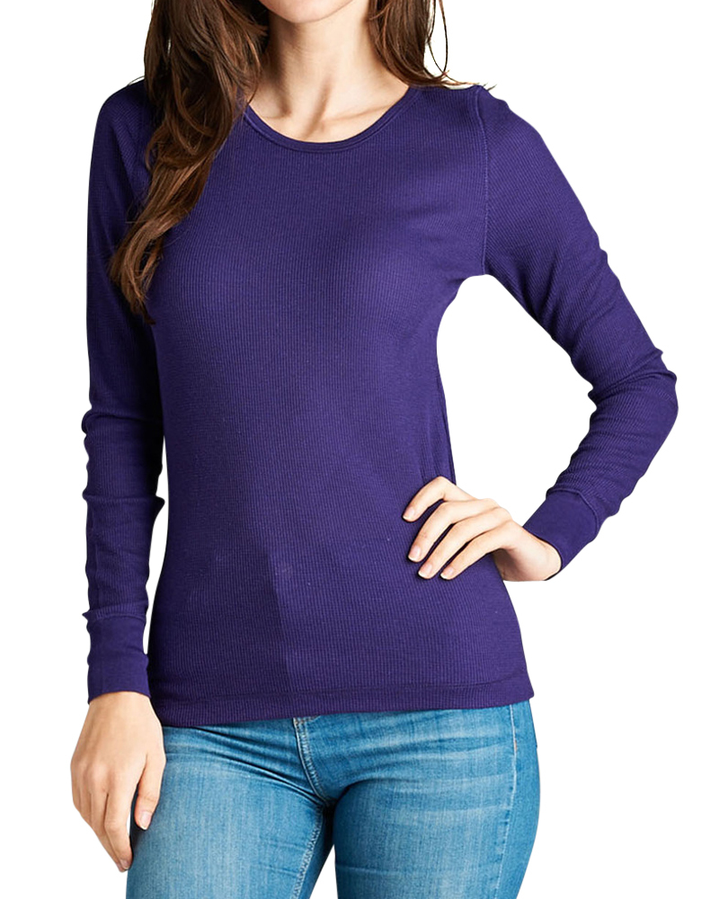 Women basic casual long sleeve crew neck thermal tee shirt for Basic shirts for women