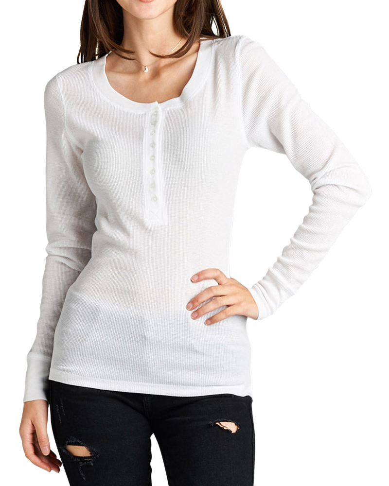 Women Basic Long Sleeve Casual Henley Thermal Tee Shirt