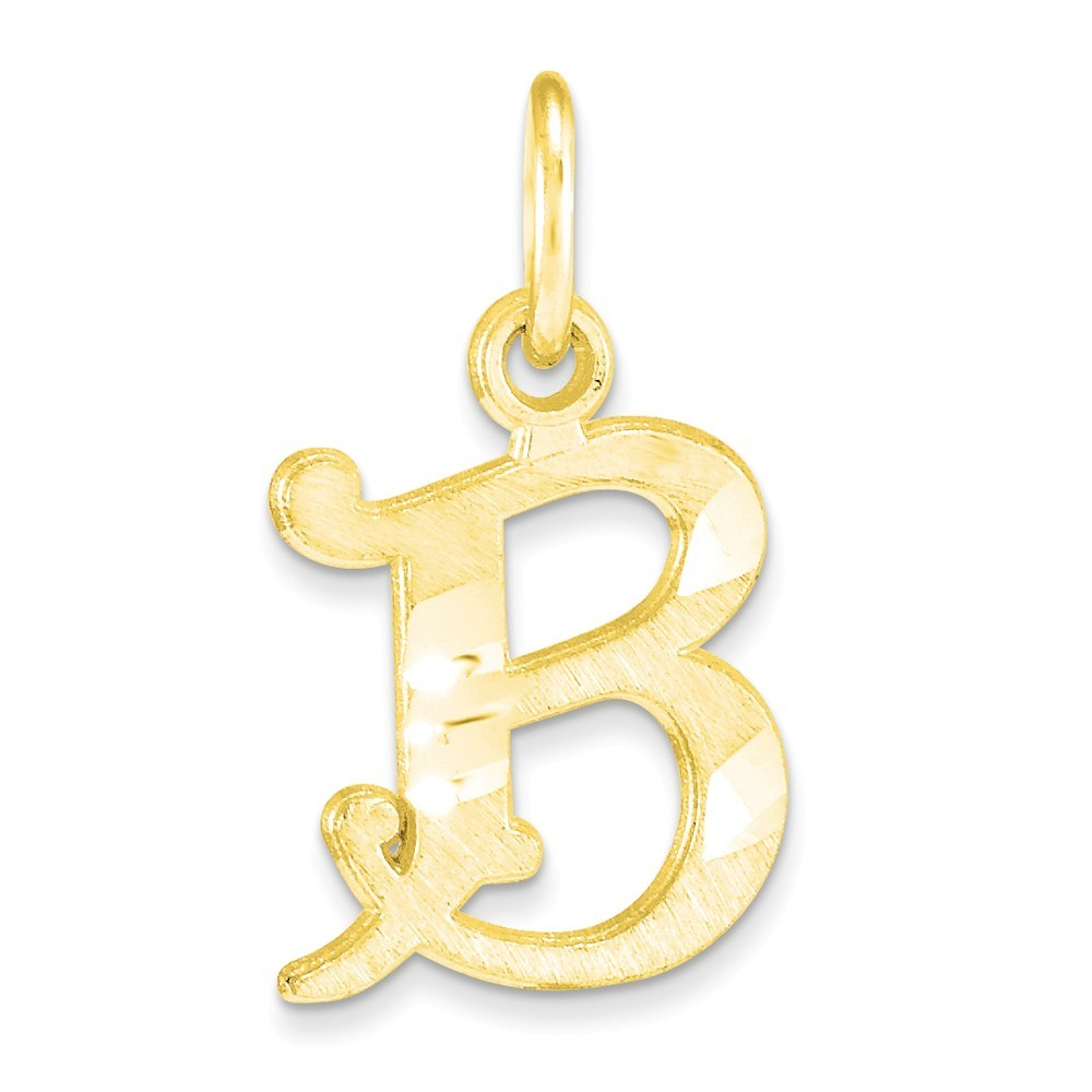 B Letter In Gold Ring 10K Yellow Gold Diamon...