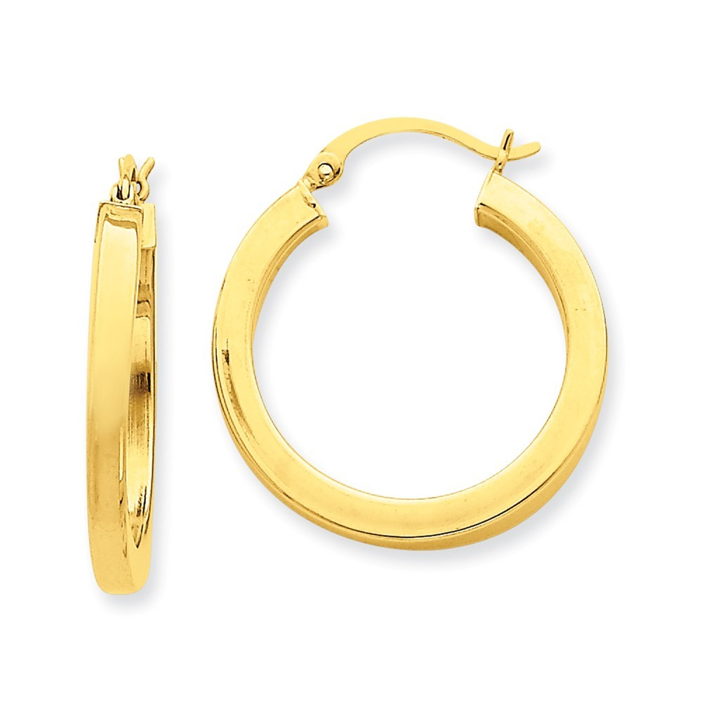 Details about 14k yellow gold 3mm square tube round hoop earrings