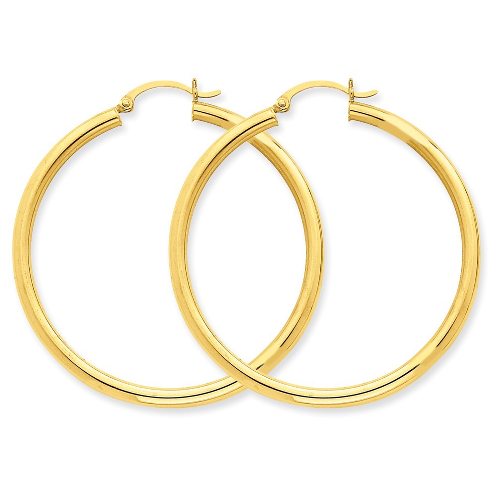 14K Yellow Gold 3mm Tube Round Hoop Earrings