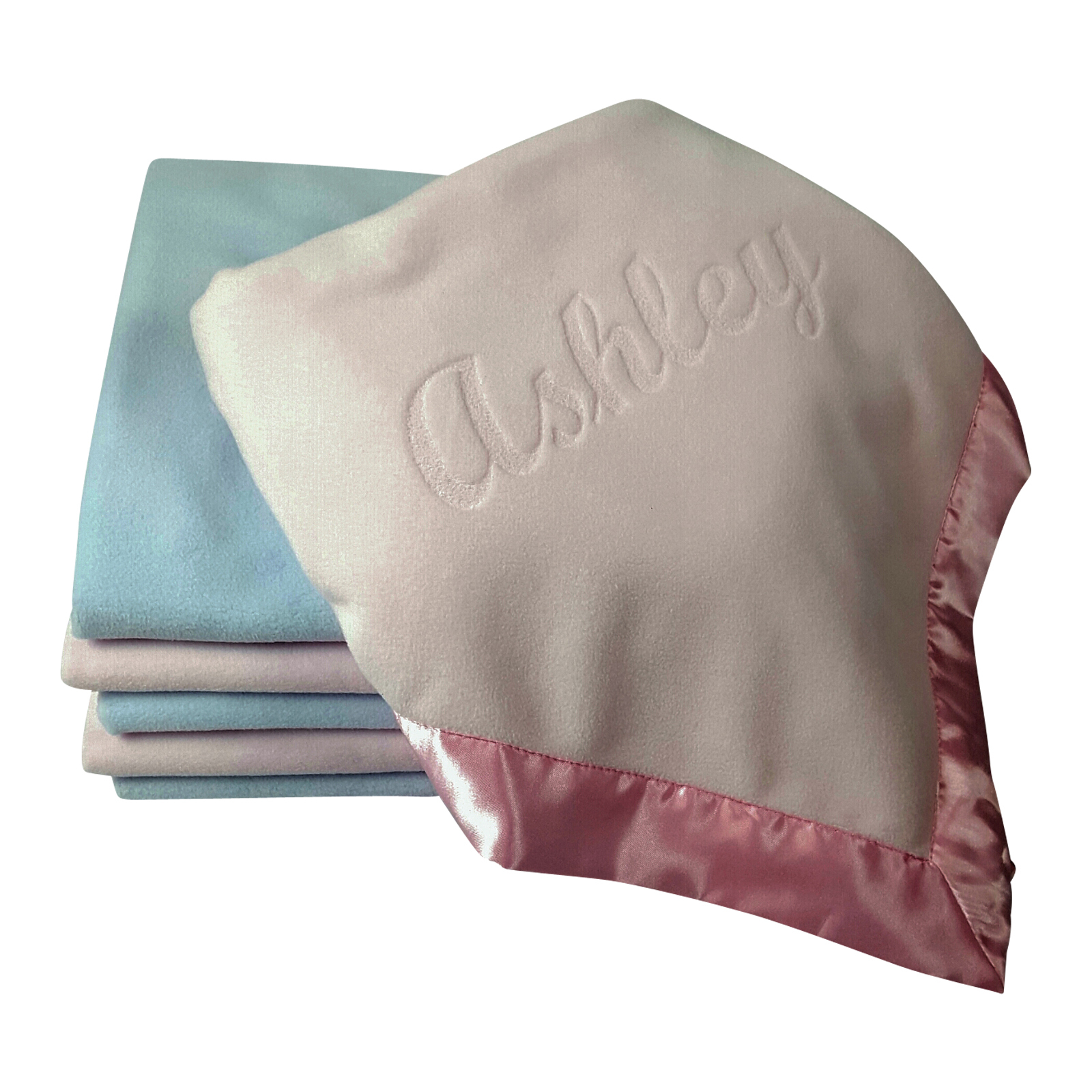 Large Pink or Blue Personalized Baby Blanket 36x36 - Best ...