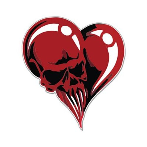 Skull heart fear red styling car vinyl sticker