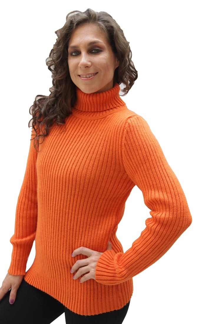 Women's Soft Alpaca Wool Knitted Turtleneck Ribbed Sweater ...