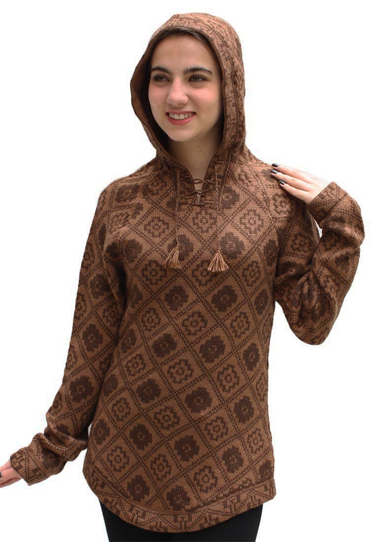 Knitting Pattern Womens Hoodie : Womens Hooded Alpaca Wool Knitted Hoodie Inca Yarn ...