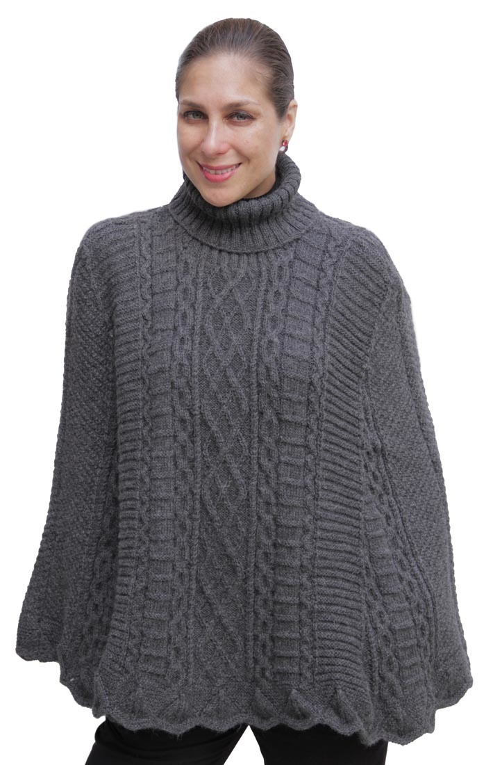 Alpaca Poncho Knitting Pattern : Superfine Alpaca Wool Hand Knitted Poncho Cape Wrap One ...