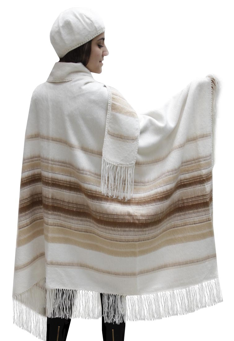 Alpaca-Wool-Poncho-Cape-with-matching-Scarf-amp-Beret-One-Sz