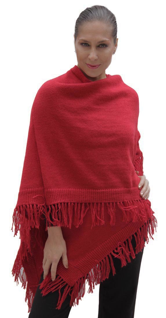 Womens Knitted Knit Soft Warm Alpaca Wool Ruana Cape Wrap ...