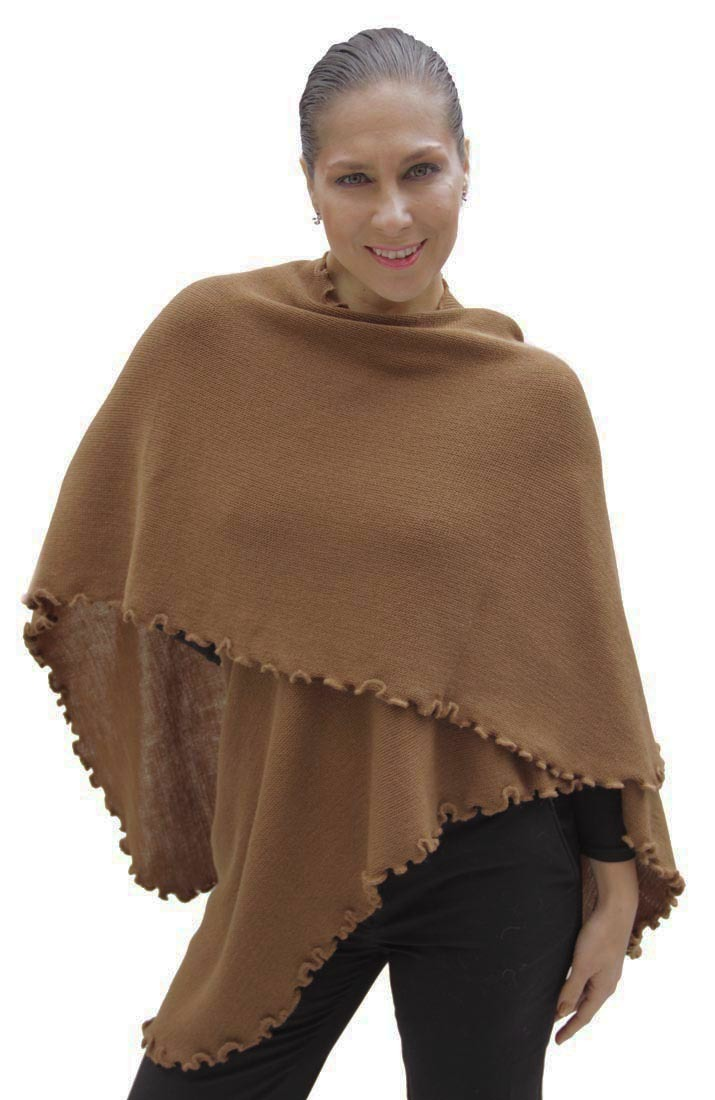 Womens Knitted Baby Rabbit Wool Ruana Cape Wrap One Size ...