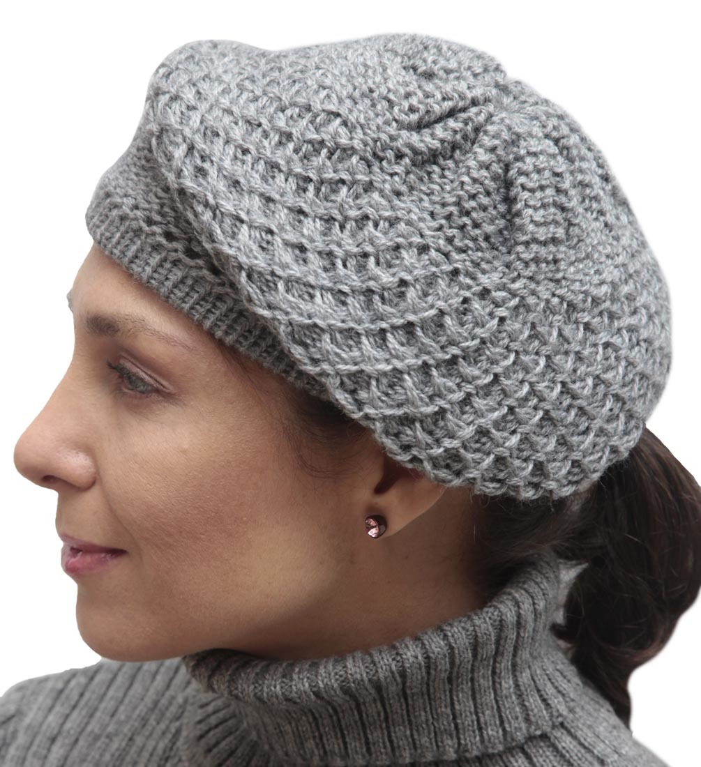 Knitted Hat Patterns For Alpaca Yarn : Womens Alpaca Wool Knitted Beret Cap Hat eBay