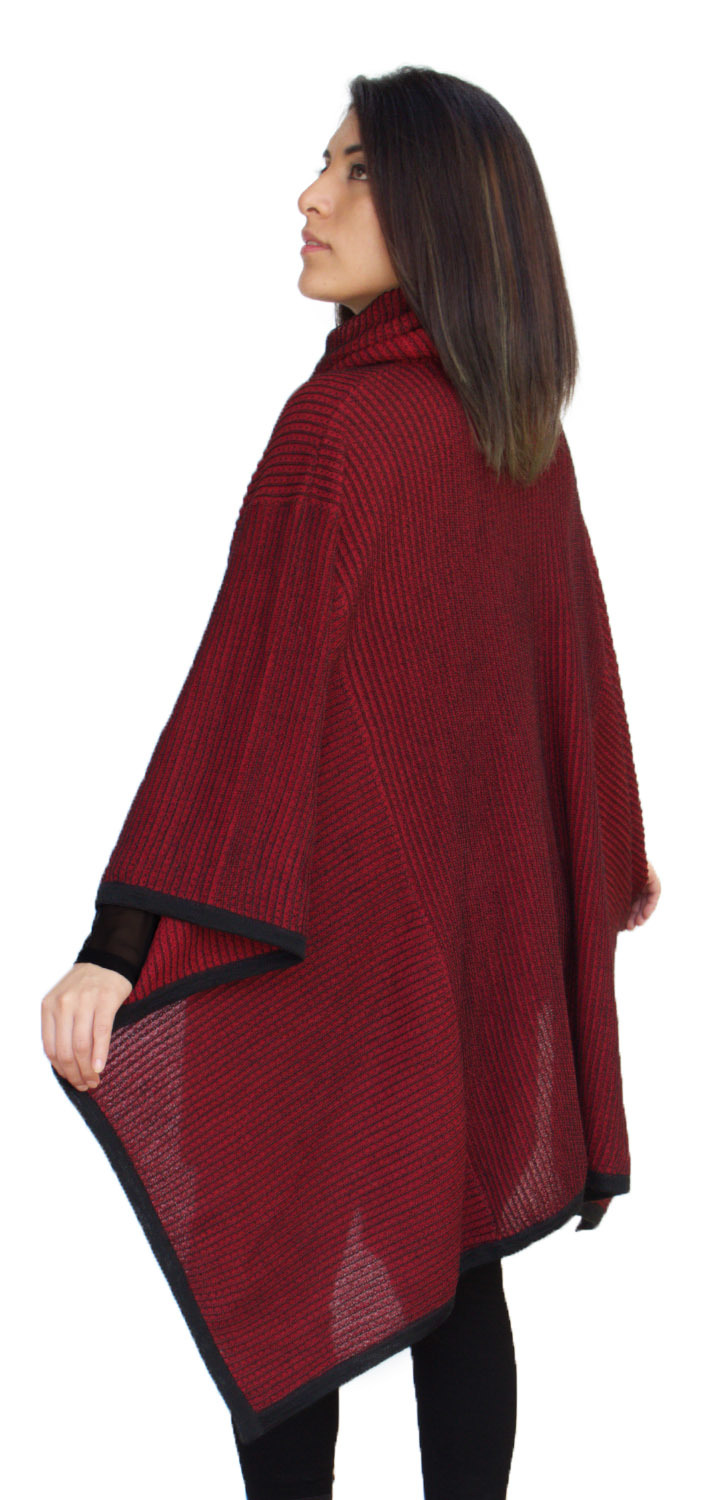 Knitting Pattern For Turtleneck Poncho : Womens Superfine Alpaca Wool Knitted Turtleneck Poncho eBay