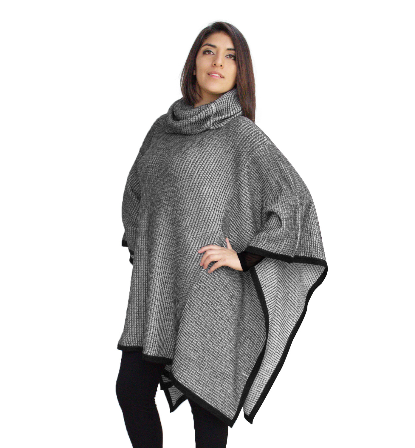 Knitting Pattern For Turtleneck Poncho : Womens Superfine Alpaca Wool Knitted Turtleneck Poncho