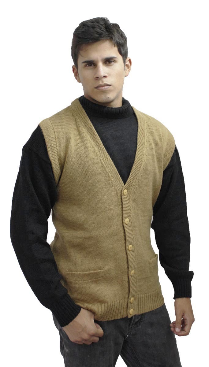 Mens Soft Alpaca Wool Knitted V Neck Sweater Button Down Golf Vest