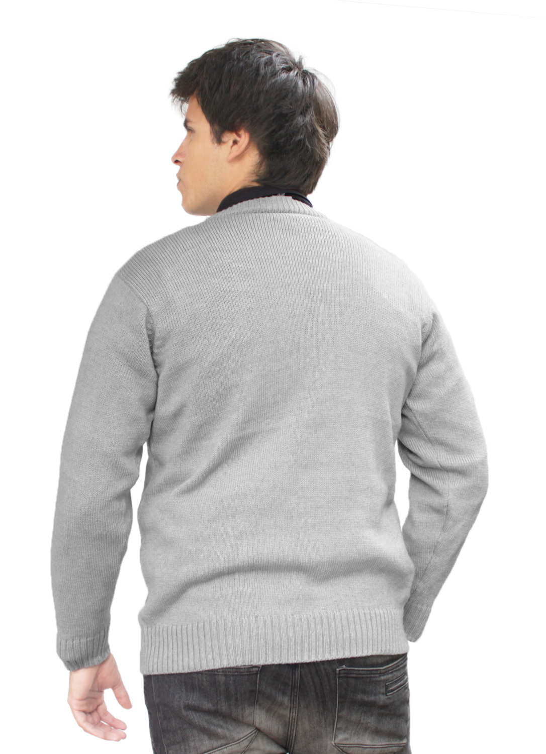 Mens Alpaca Wool Knitted Crew Neck Solid Warm Sweater