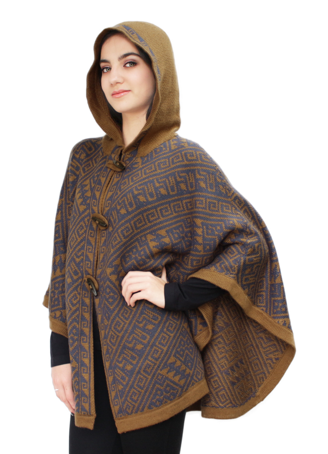 Womens alpaca wool hooded knit yarn cape coat poncho wooden women 039 s alpaca wool hooded knit yarn bankloansurffo Image collections