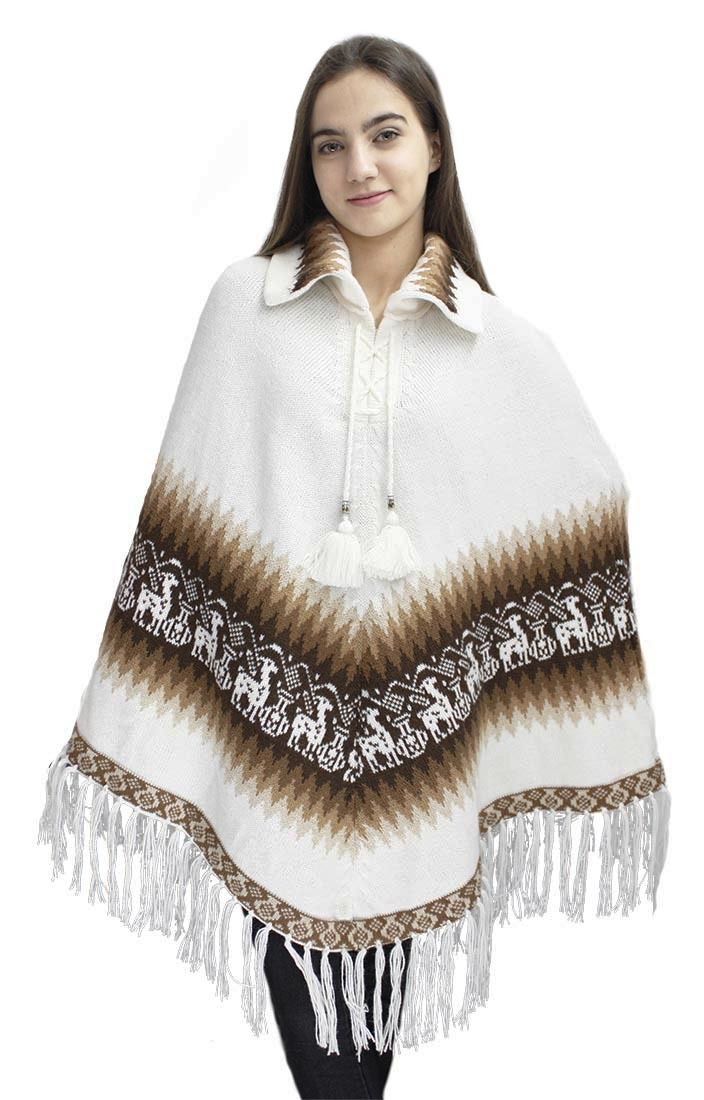 Knitting Pattern Poncho With Collar : Womens Alpaca Wool Collar Poncho Cape Knitted Knit Yarn ...