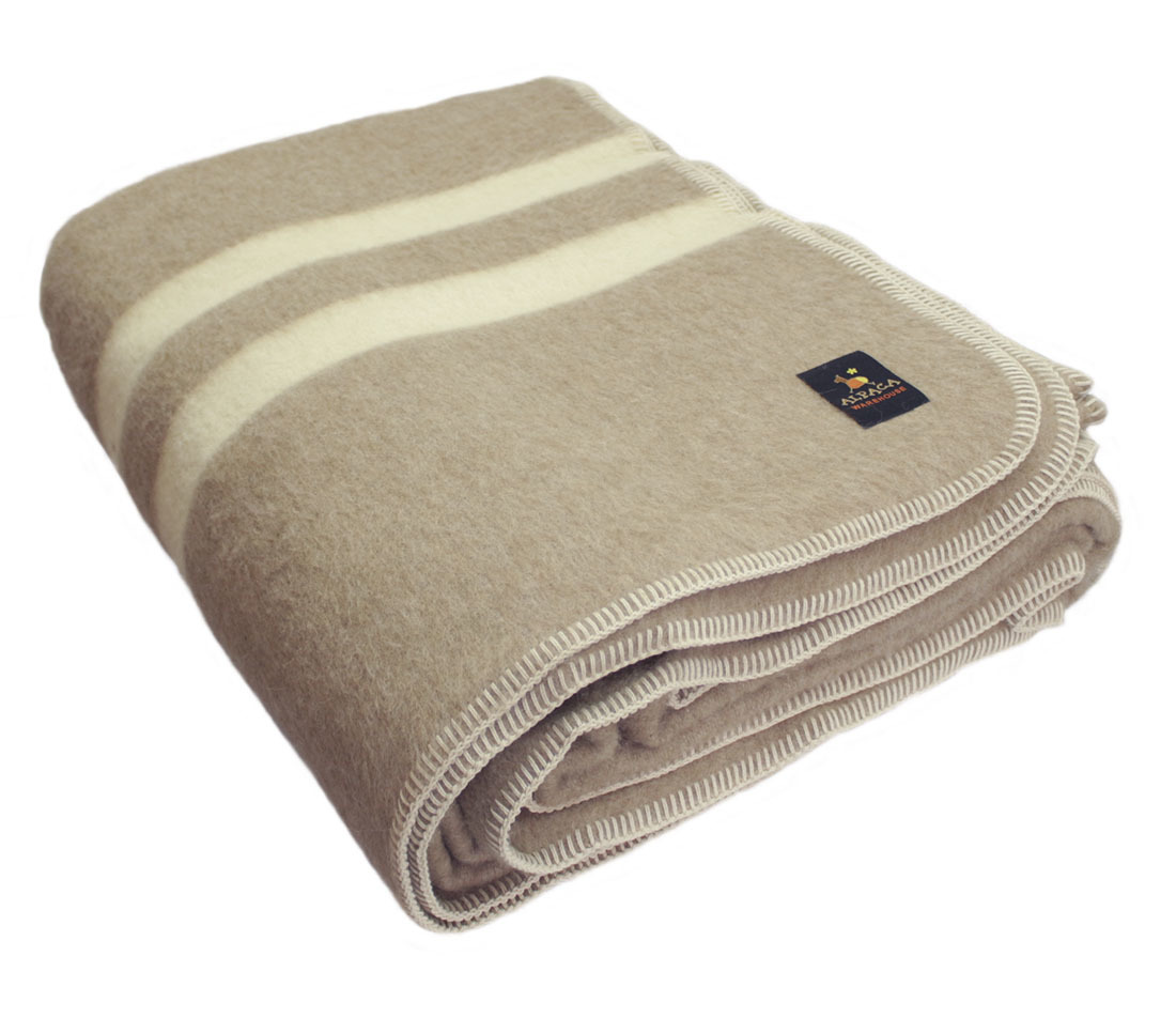 Thick Alpaca Wool Blanket Camping Outdoor Striped Soft