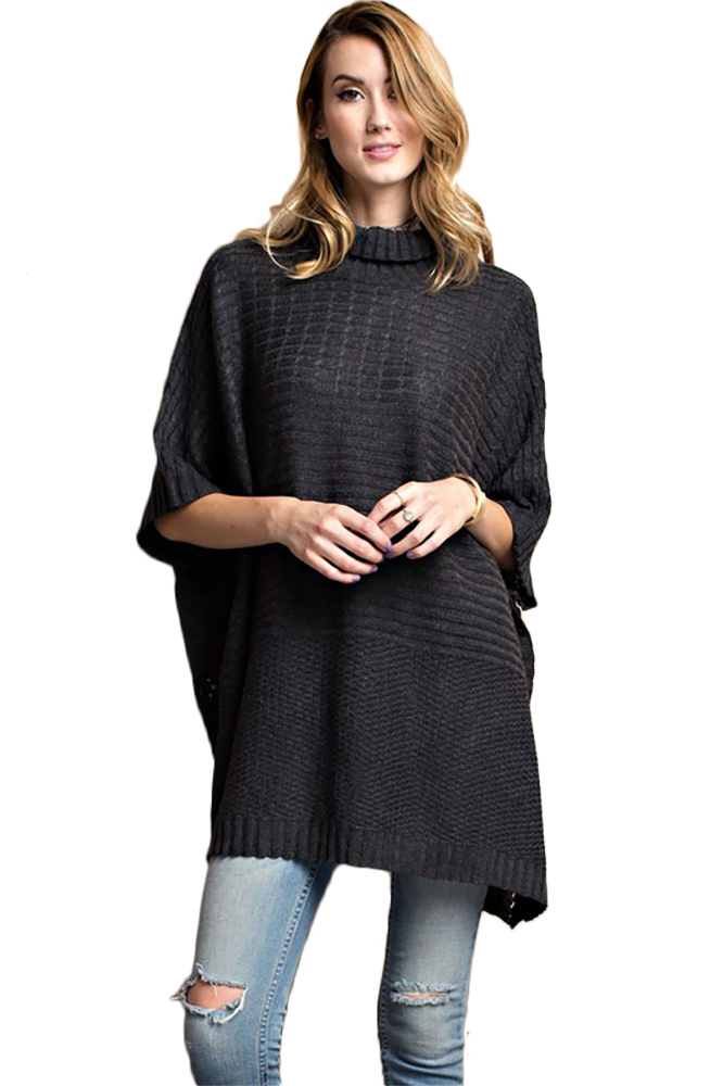 Cozy Boxy Turtle Neck Poncho Style Knitted Side Button ...