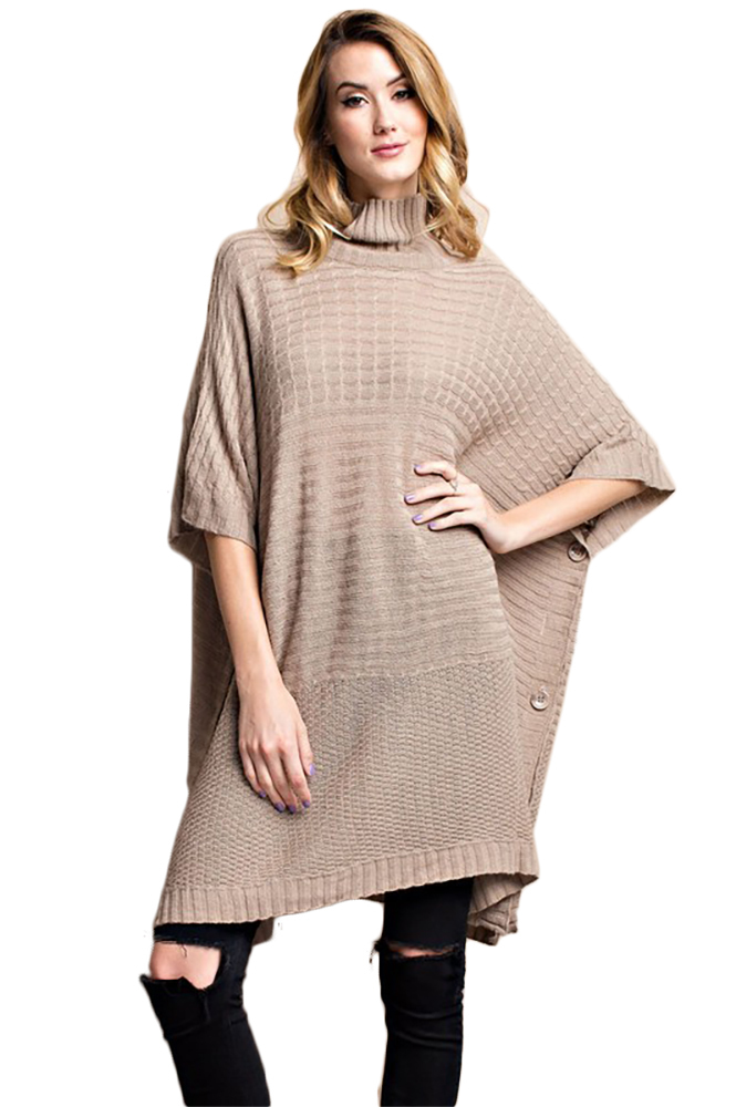 Knitting Pattern Side Button Poncho : Cozy Boxy Turtle Neck Poncho Style Knitted Side Button ...