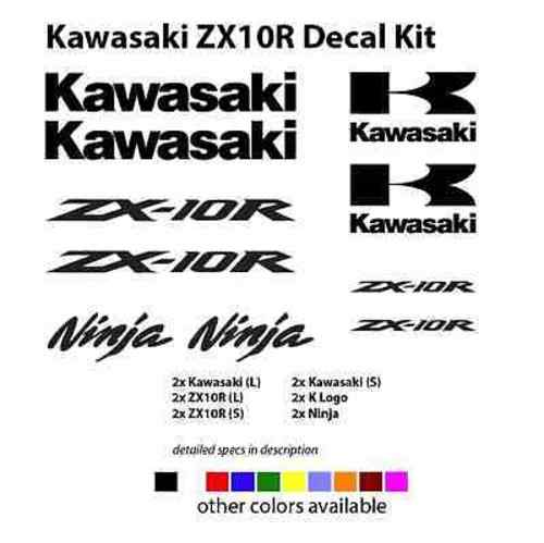 Set of 12 Kawasaki ZX10R ZX10 ZX Racing Decals Stickers Kit Set GOLD WHITE GREEN