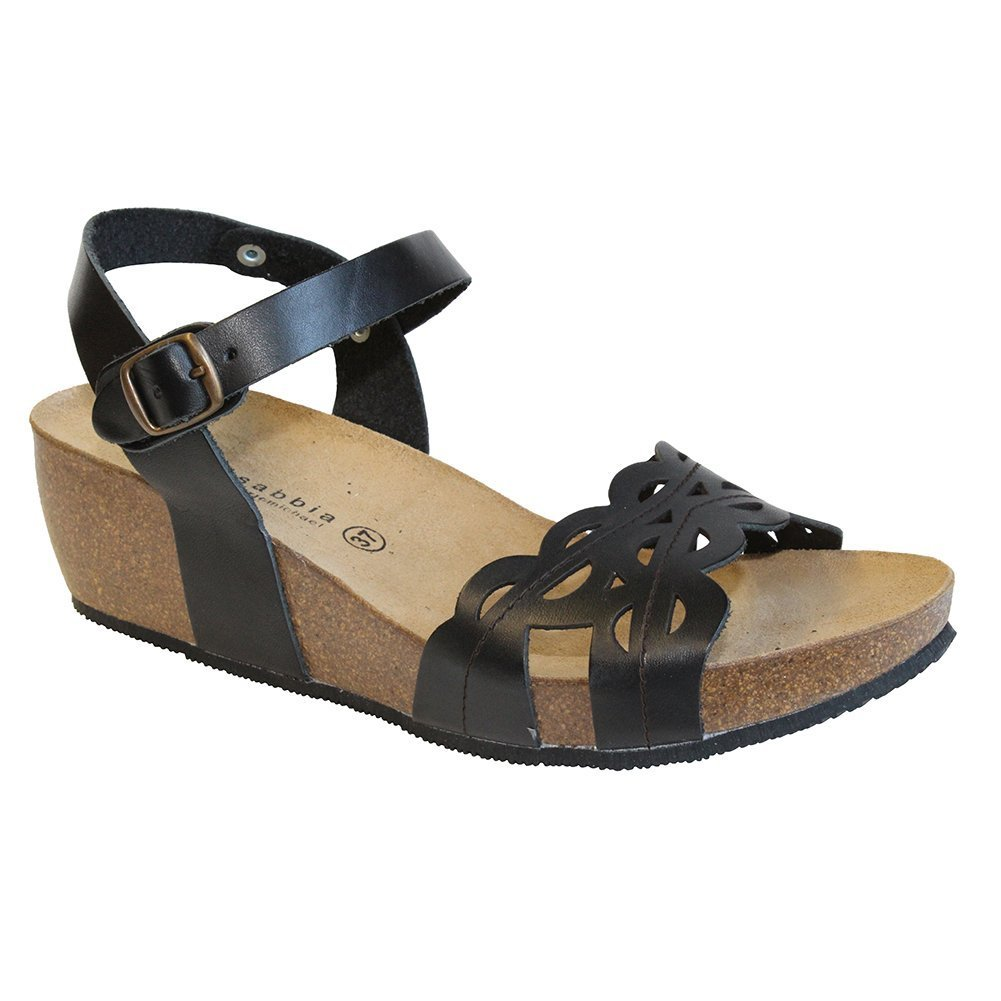 Lola Sabbia Royal Womens Leather Ankle Strap Wedge Heel