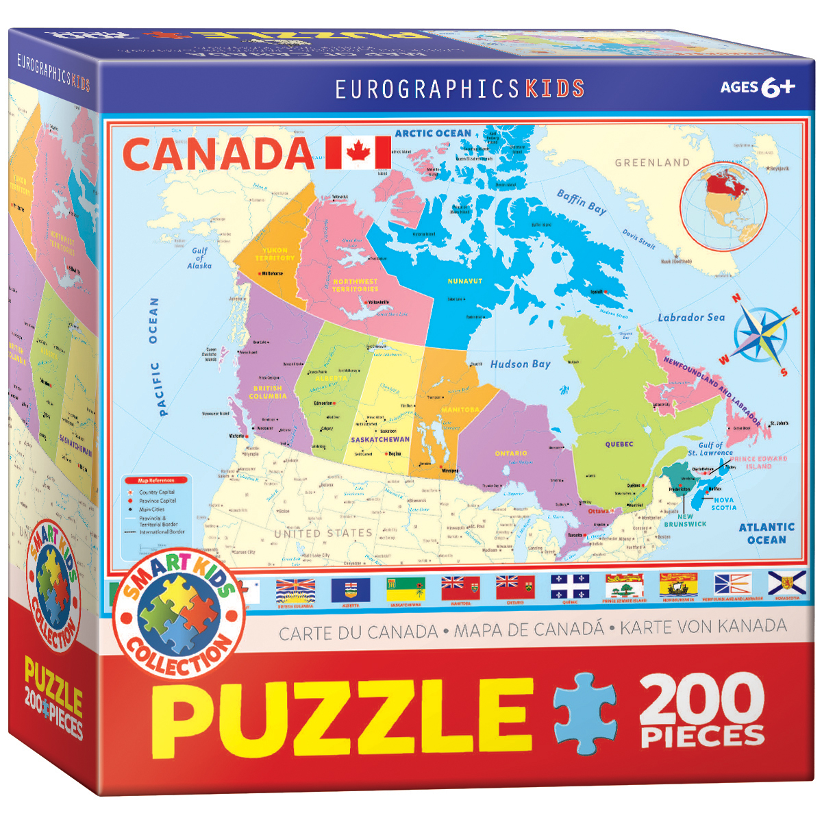 Map of canada 200 piece kids jigsaw puzzle age 6 ebay image is loading map of canada 200 piece kids jigsaw puzzle gumiabroncs Gallery