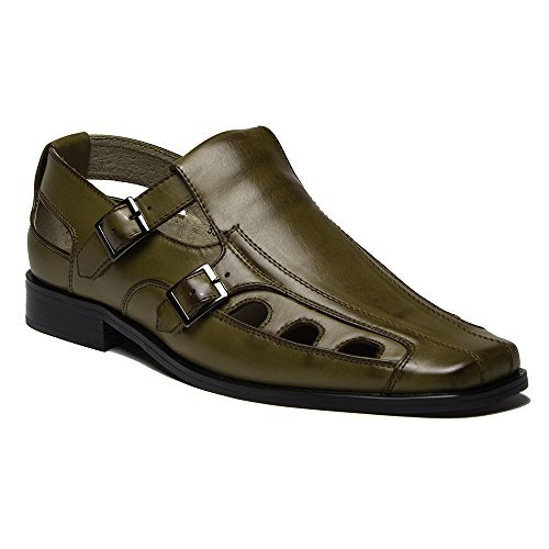 New Men S 33308 Leather Lined Double Buckle Closed Toe Dress Sandals