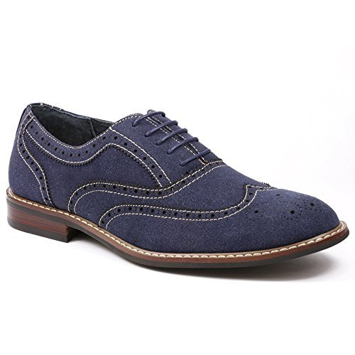 Ferro Aldo M-139001 Men's Denim Blue Lace Up Wing Tip Dress Classic Oxford Shoes