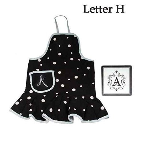 Apron black womens monogram initial letter h kitchen glass for Kitchen set letter l