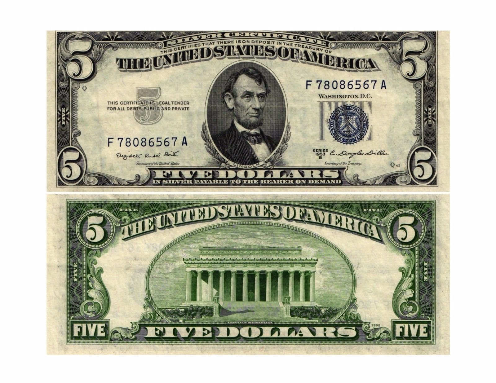 1953 b 500 us silver certificate note fr1657 f78086567a image is loading 1953 b 5 00 u s silver certificate note xflitez Images
