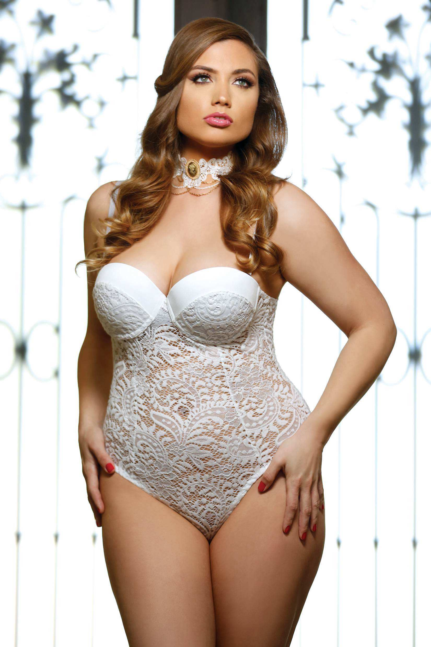 Plus Size Lingerie 5X Lace Bridal Teddy SEXY Wedding Lingere Push ...