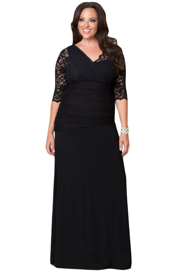 Plus Size Clothing 5X Elegant Galloon Lace Illusion ...