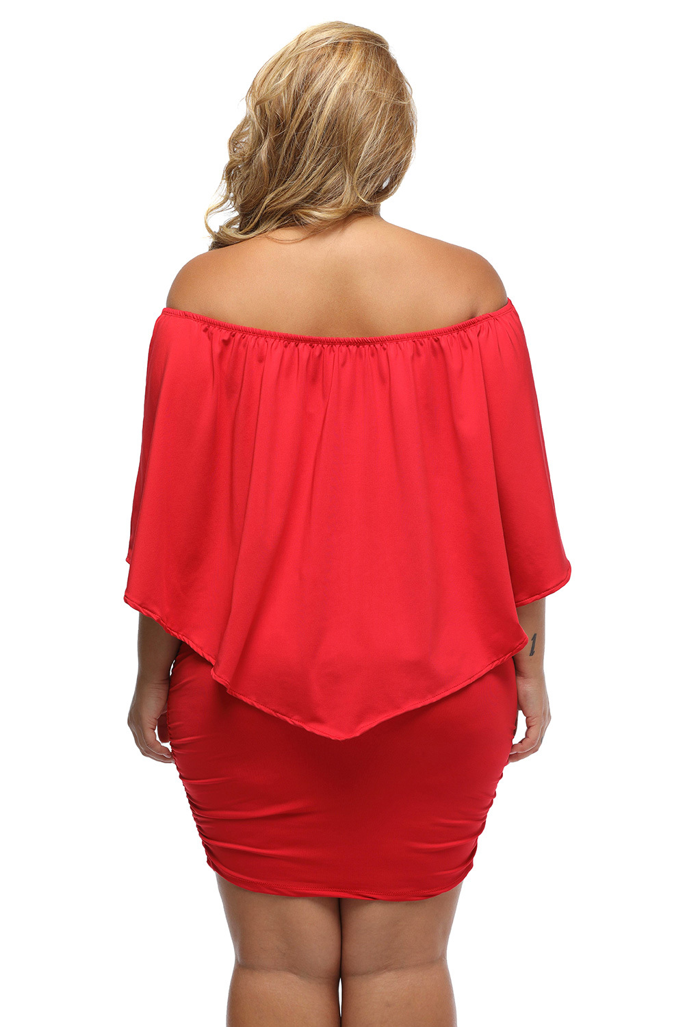 Plus size clothing 5x red black ruffle top mini bodycon for Size 5x mens dress shirts