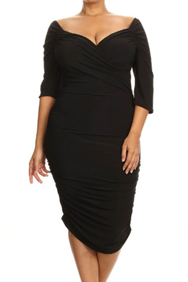 Plus Size Clothing 3x 5x Ruched Bodycon Party Clubwear