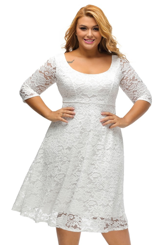 Plus Size Clothing 5x White Floral Lace Sleeves Fit N
