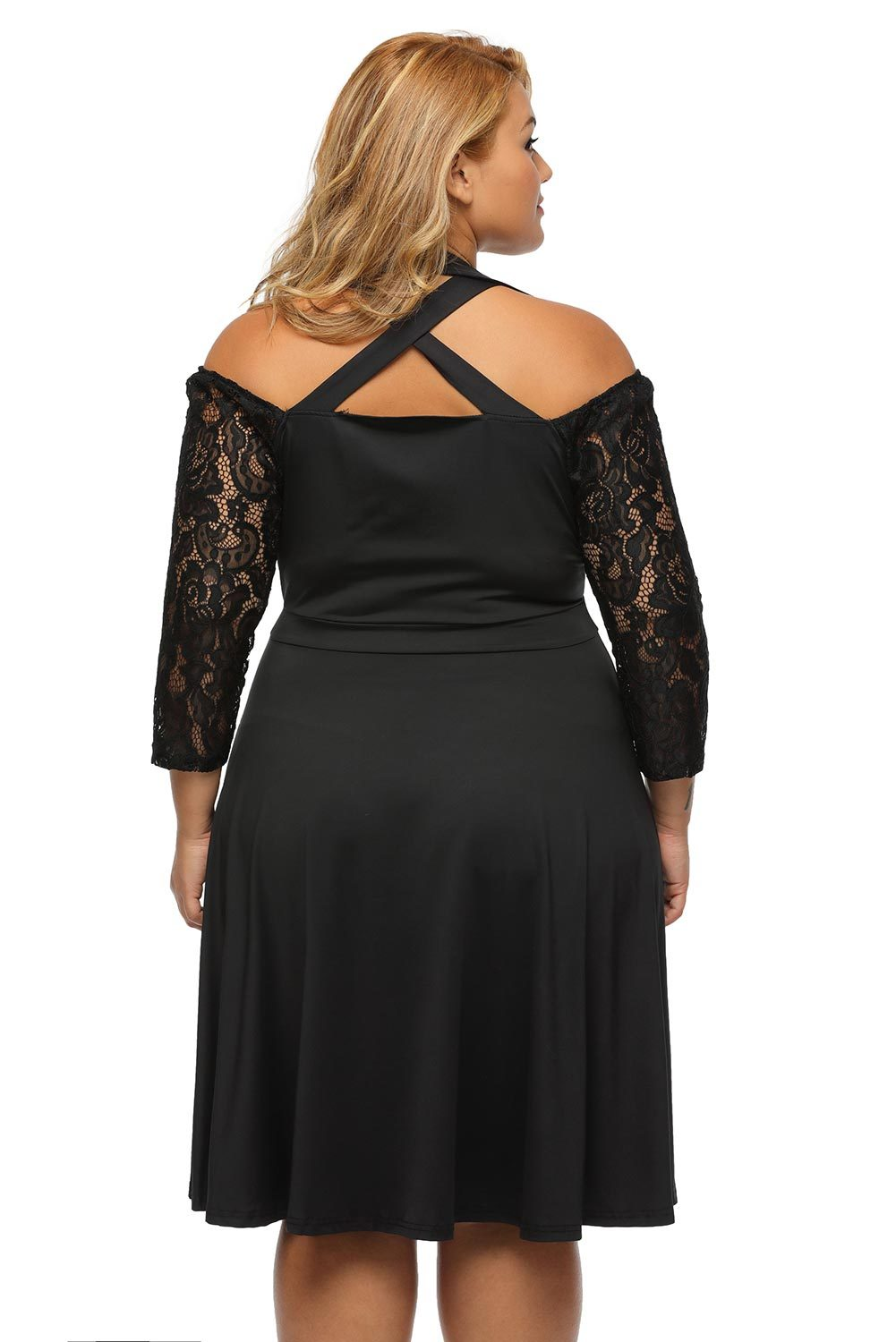 Plus size clothing 3x 5x lace sleeve cutout empire skater for Size 5x mens dress shirts