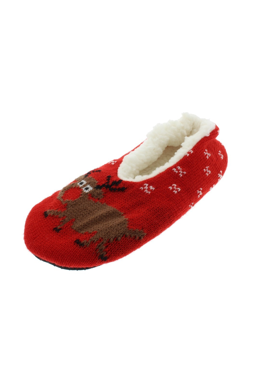 GMI Christmas Theme Sherpa Lined Slippers, Red White Green,