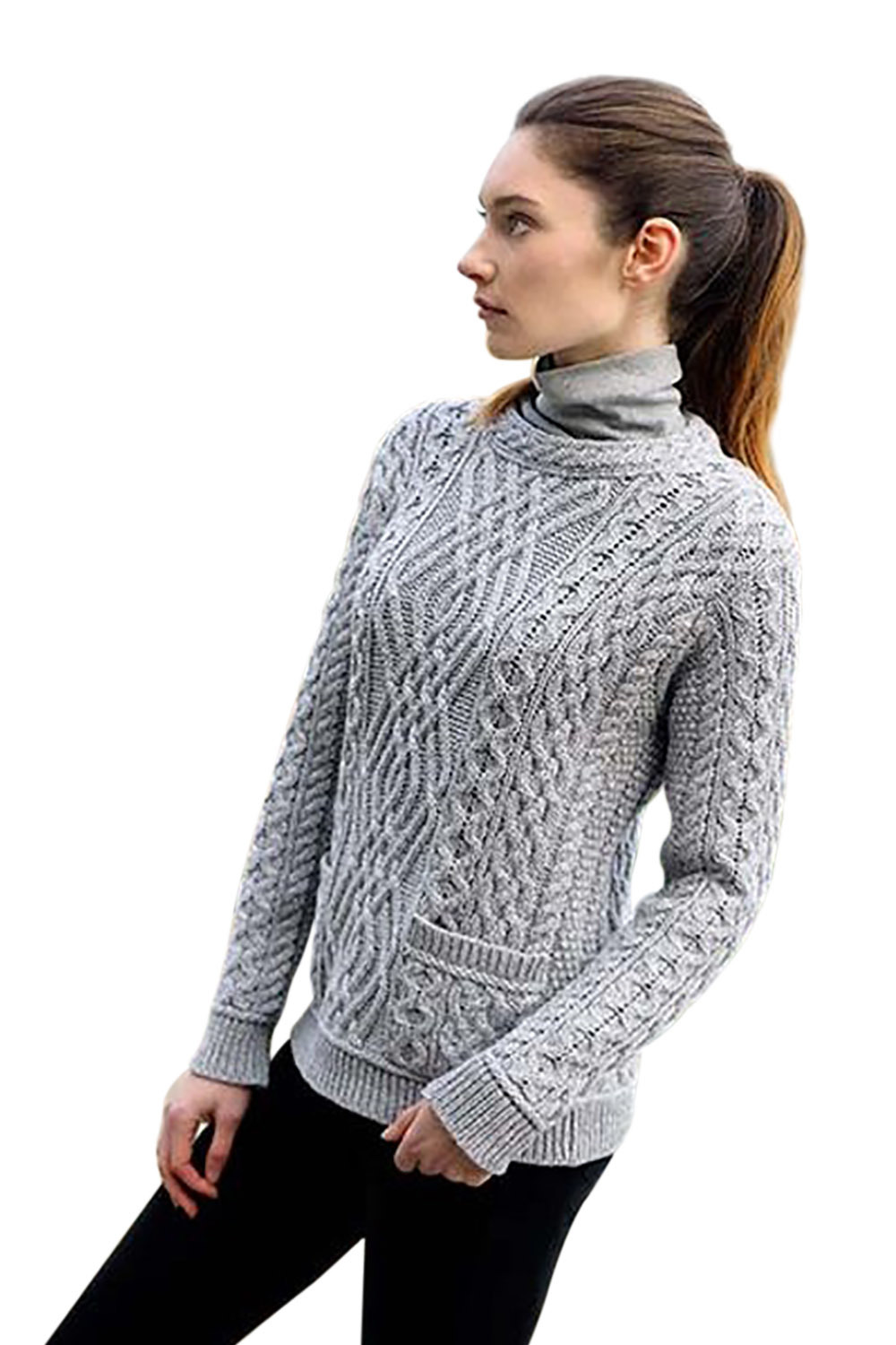 Irish Cable Crew Neck Wool Sweater With Pockets