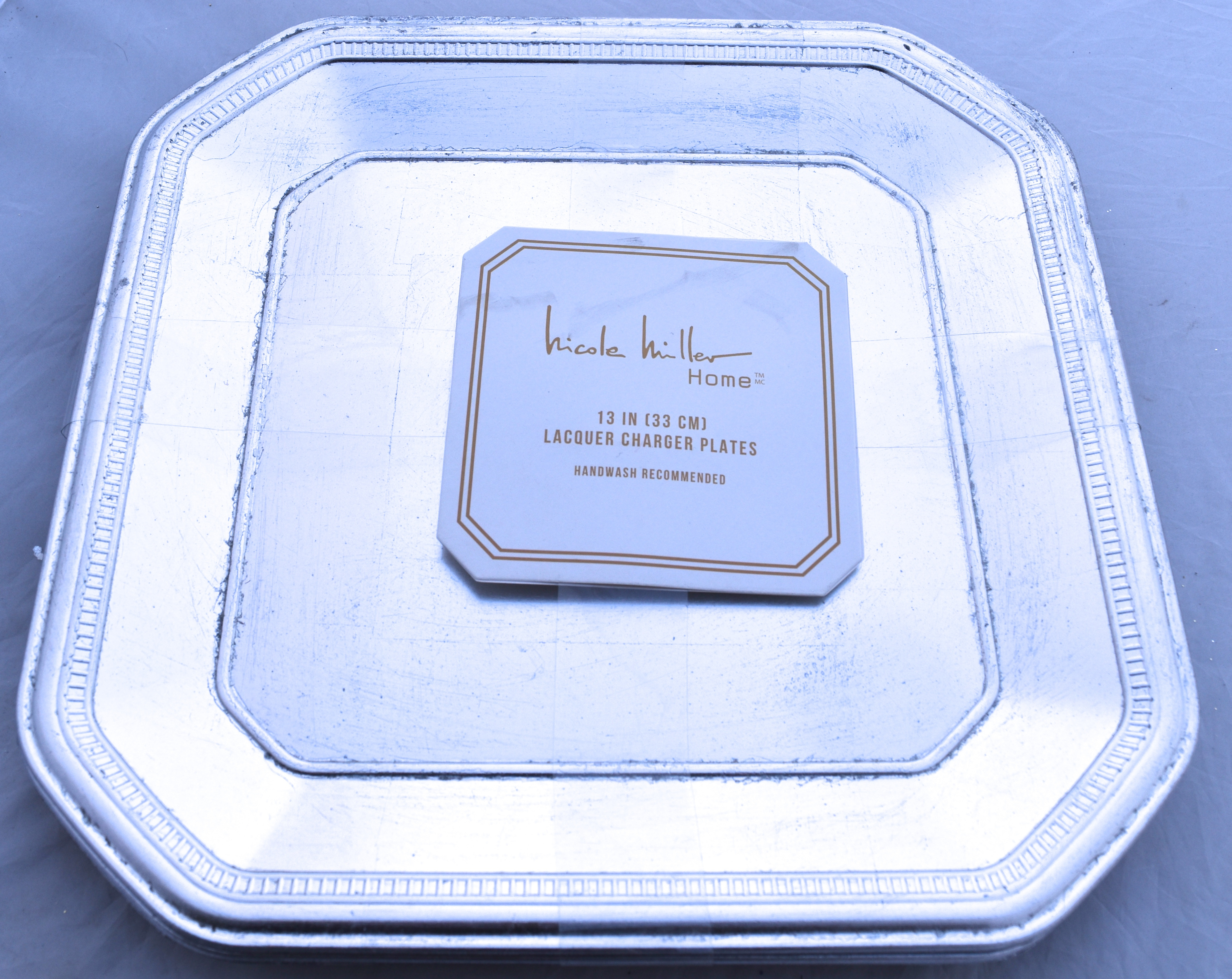 Nicole-Miller-Gold-Silver-Gilt-Ancient-Square-Octagon-  sc 1 st  eBay & Nicole Miller Gold / Silver Gilt Ancient Square Octagon 13\