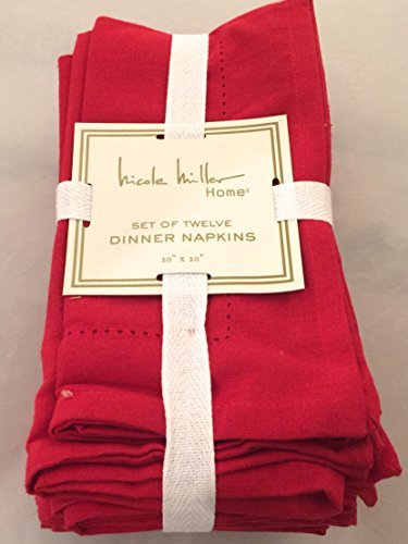 Nicole Miller Christmas Red Fabric Square Oblong