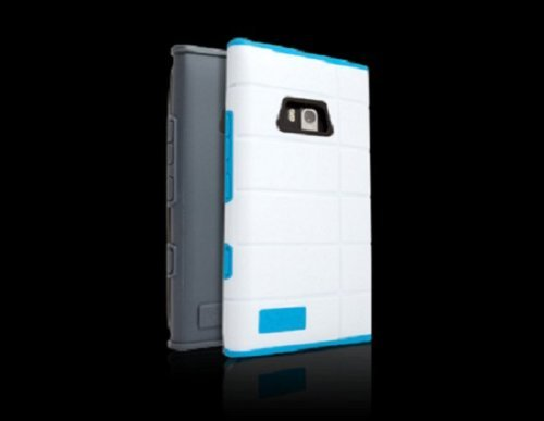 iFrogz IFZNOKCCNWHT Shell Cocoon Case with Blue and Grey Inserts for Nokia Lumia 900 - 1 Pack - Retail Packaging - White