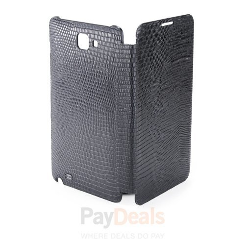 Anymode Black Leather Flip Folio Case Battery Cover for Samsung Galaxy Note I717