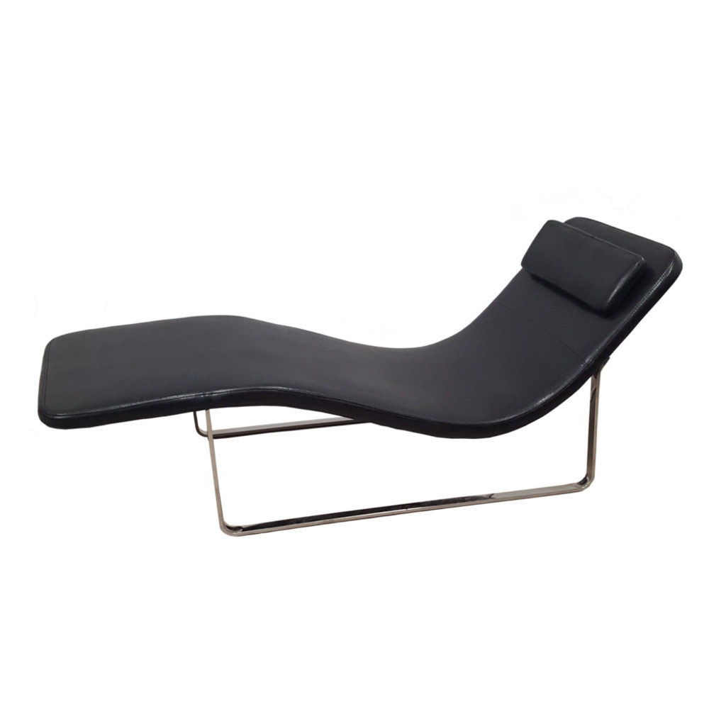 Longa modern chaise lounge chair black for Chaise lounge black