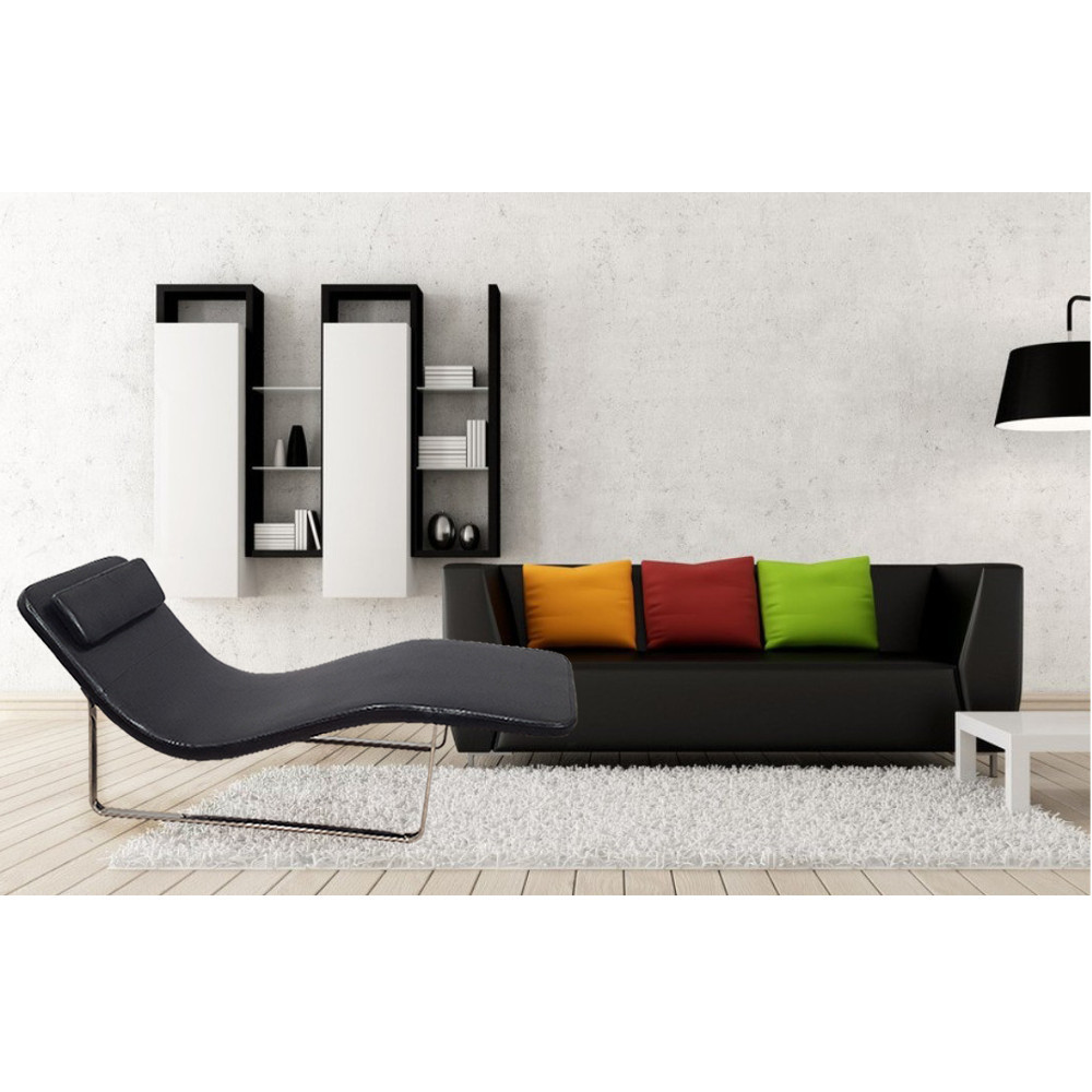 Longa Modern Chaise Lounge Chair Black