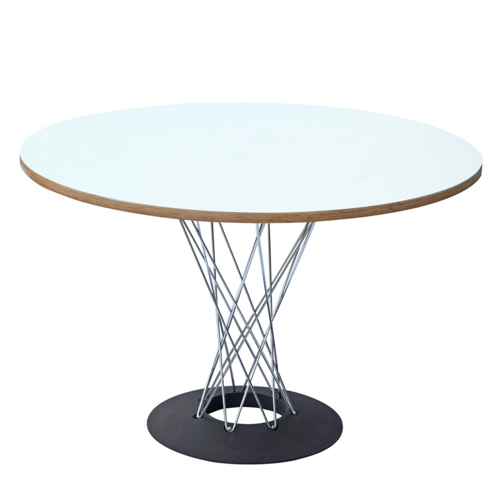 Midcentury modern style wire base dining table 42 white for New style dining table