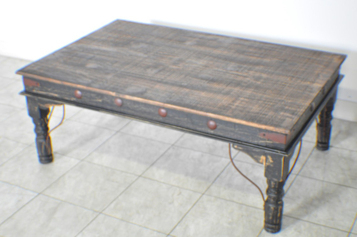 Black distressed rustic indian coffee table Rustic black coffee table