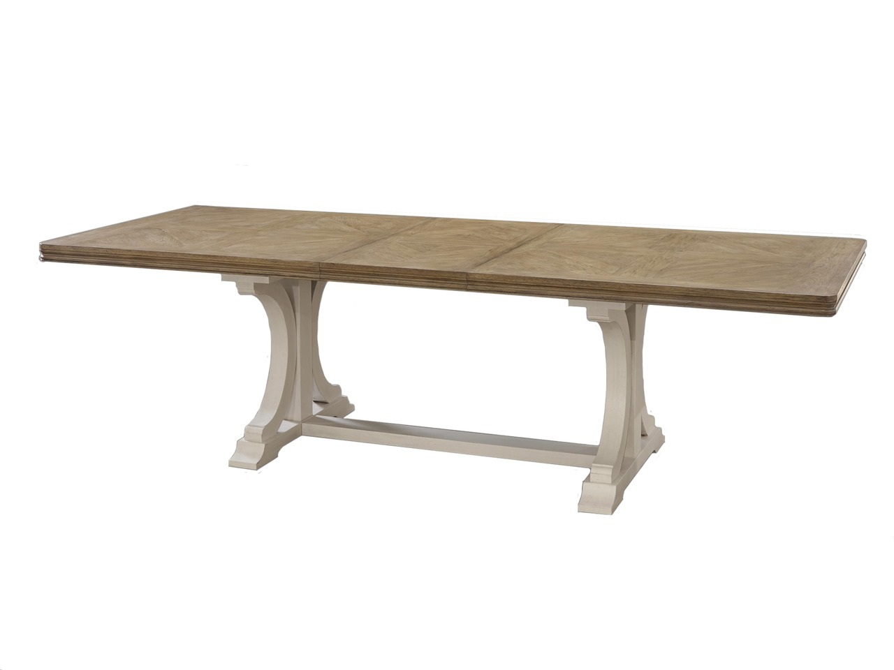 Bisque canvas white trestle dining table ebay for 108 inch dining table