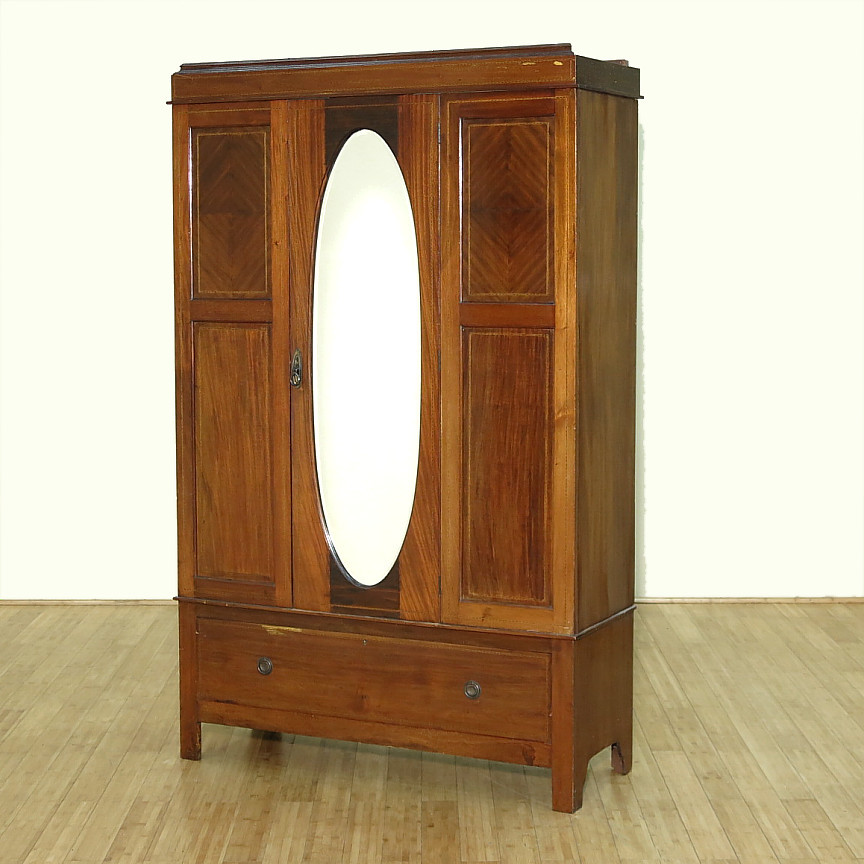 c1949 antique english inlaid mahogany armoire wardrobe w. Black Bedroom Furniture Sets. Home Design Ideas