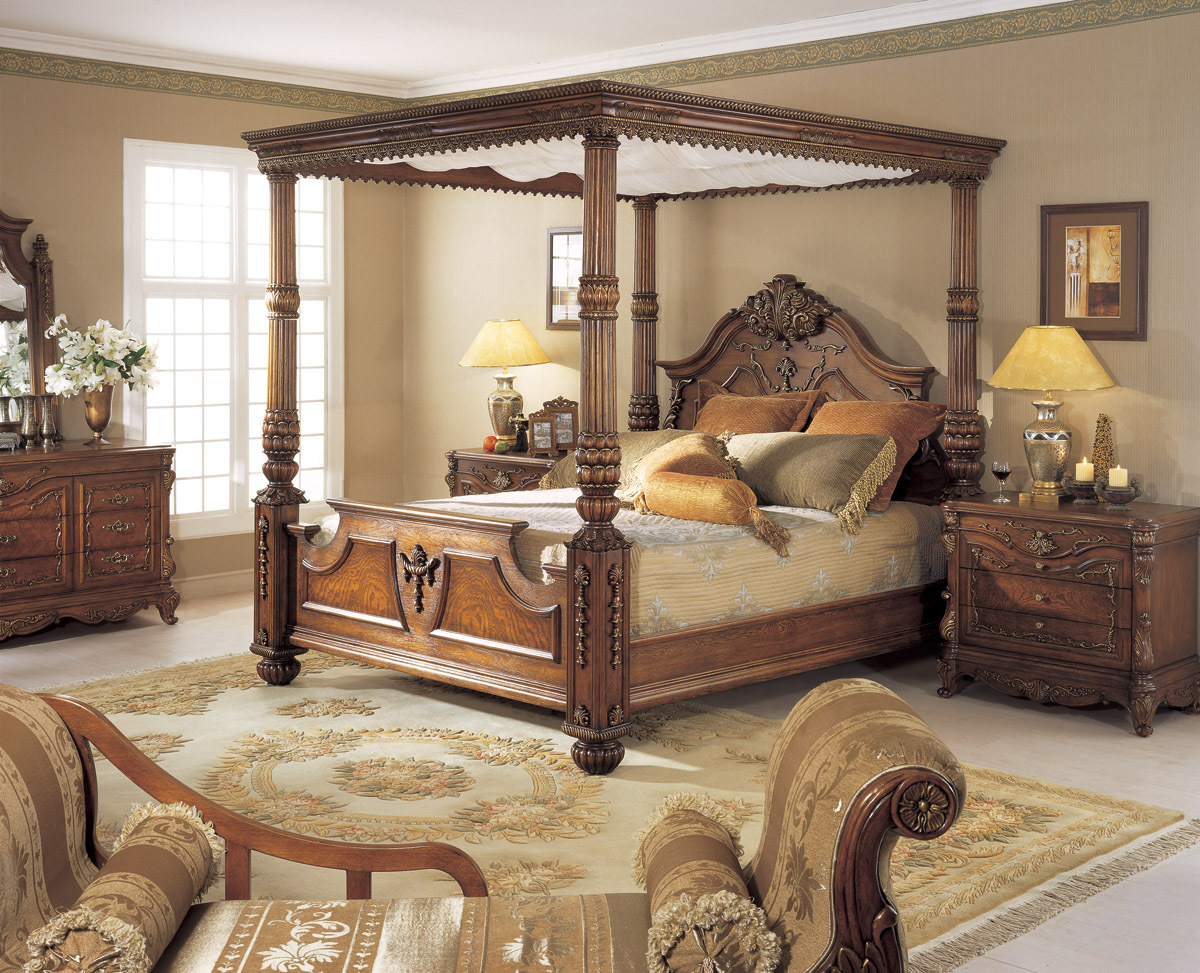Orleans International 6 Pc Renaissance King Poster Bed W Canopy Bedroom Set Ebay