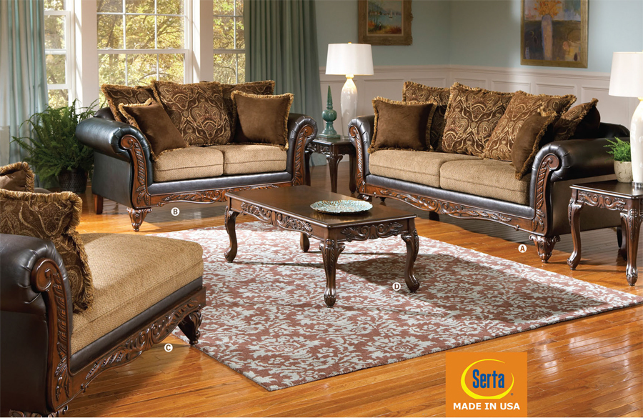Chocolate faux leathersplurg e fabric traditional living room set